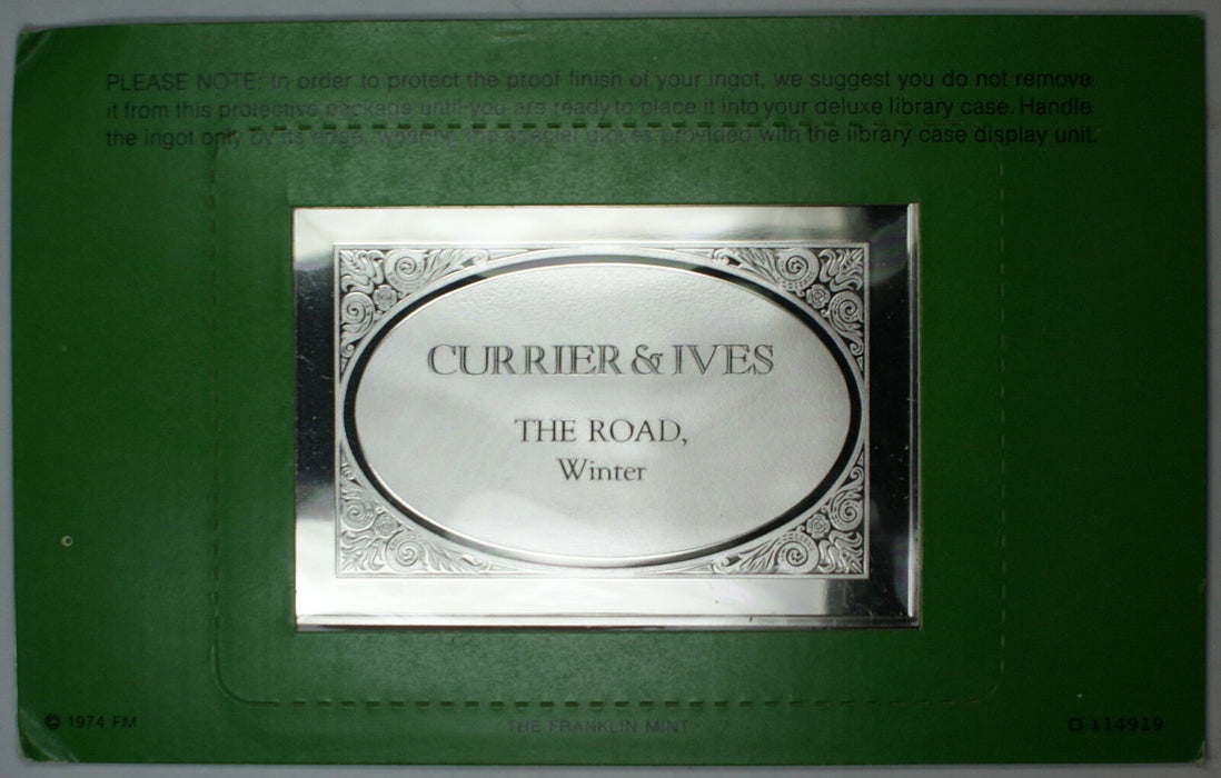 Currier & Ives Proof Silver Ingot (Over 2.5oz) .999 Fine Silver The Road, Winter