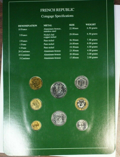 Coin Sets of All Nations French Republic UNC 8 Coins BU