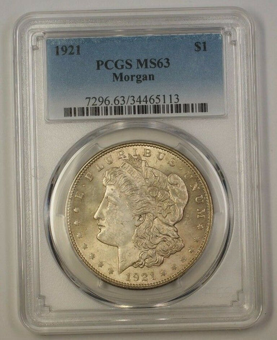 1921 US Morgan Silver Dollar $1 Coin PCGS MS-63 (17c)
