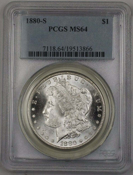 1880-S US Morgan Silver Dollar Coin $1 PCGS MS-64 (Better) BR2 P