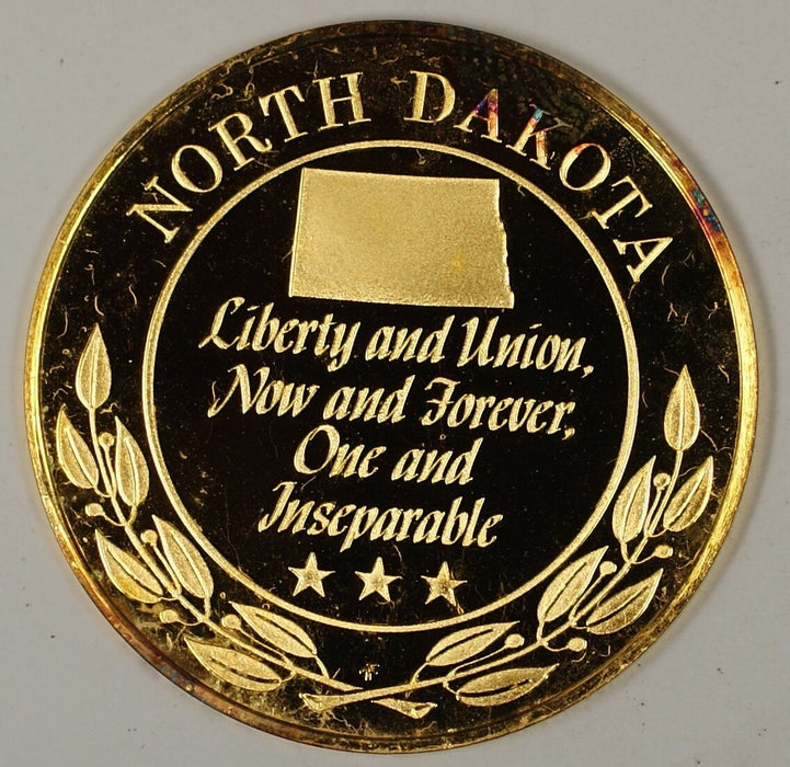 "Gold Plated Sterling Silver Proof Medal North Dakota ""Liberty & Union"" in Case"