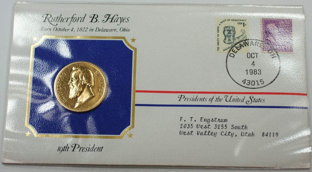 Rutherford B. Hayes Presidential Medal 24 KT Electroplate Gold & Stamps Cover