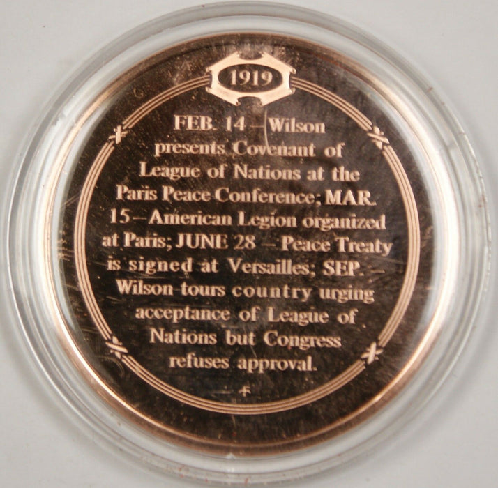 Bronze Proof Medal President Wilson Signs Peace Treaty June 28 1919