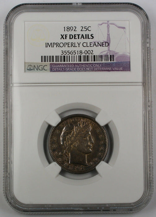 1892 Barber Silver Quarter, Type 1, NGC XF Details, Improperly Cleaned, SCARCE