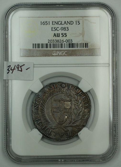1651 England 1 Shilling Silver Coin ESC-983 NGC AU-55 Almost Uncirculated AKR