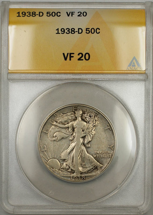 1938-D Walking Liberty Half Dollar 50C ANACS VF-20 (6B)