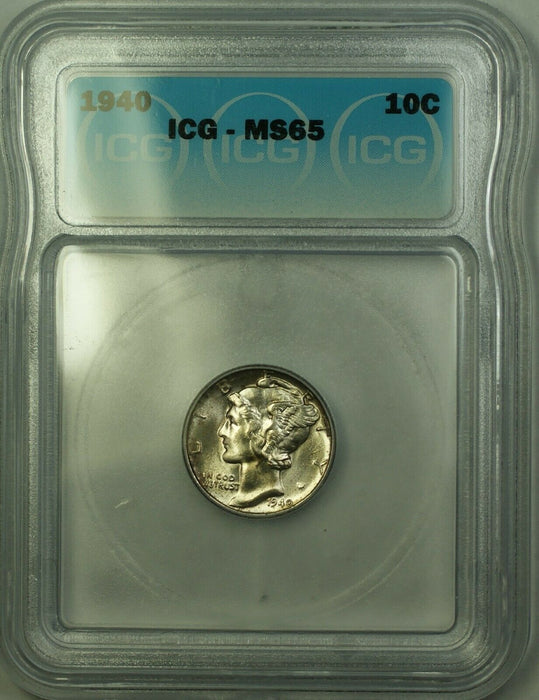 1940 Silver Mercury Dime 10c ICG MS-65 Lightly Toned Gem BU (Better Coin) (C)