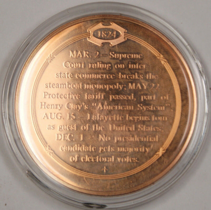 Bronze Proof Medal Lafayette Begins Hero's Tour of America August 15 1824