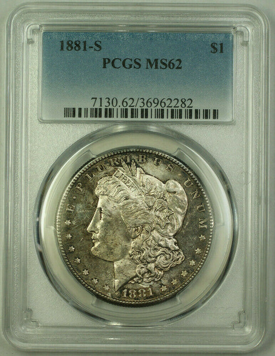 1881-S Morgan Silver Dollar $1 Coin PCGS MS-62 Toned Better Coin (20)