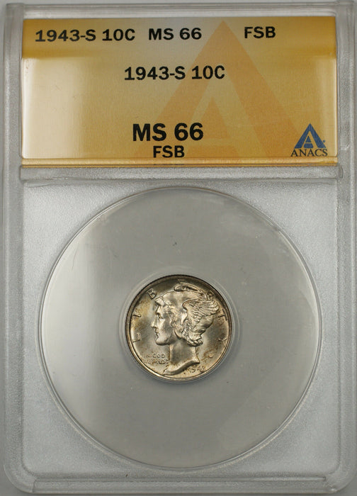 1943-S Silver Mercury Dime 10C ANACS MS-66 Full Split Bands (Light Toning 11 C)
