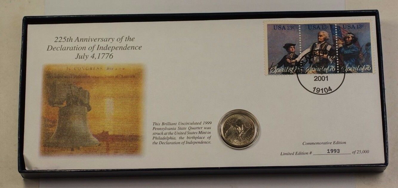 225th Anniversary of the Declaration of Independence Commem FDC 7/4/2001 Stamp