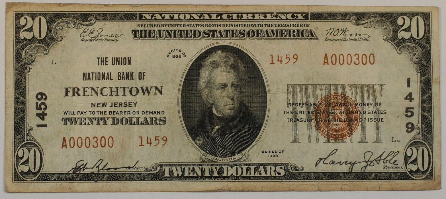 1929 US $20 National Banknote Type 2 Frenchtown NJ CH# 1459 Circulated Bill