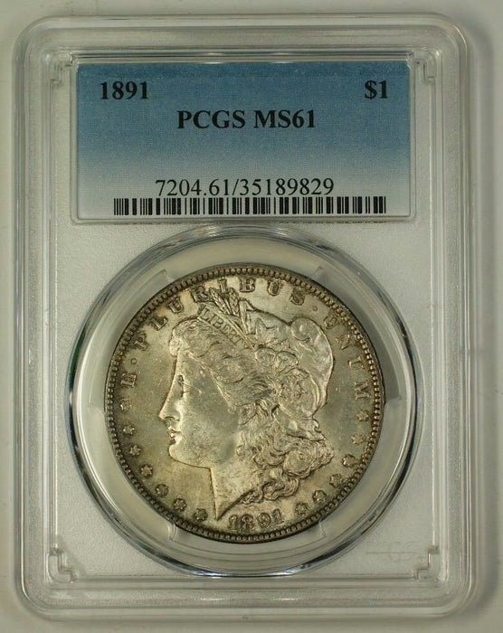 1891 US Morgan Silver Dollar Coin $1 PCGS MS-61 Toned (Better) (18)