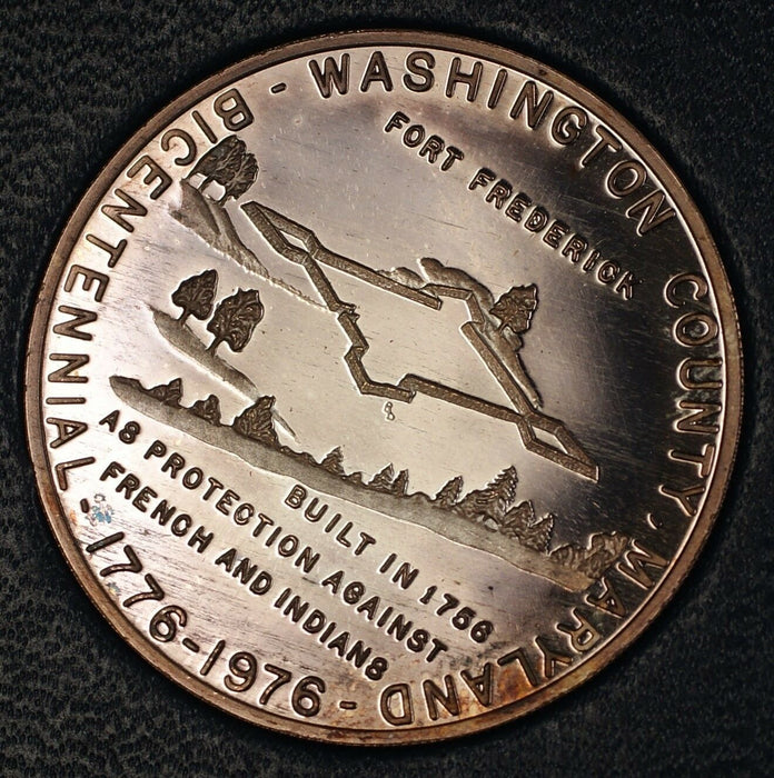 1976 Silver Fine Proof Fort Frederick & Fort Washington MD Bicentennial Medal