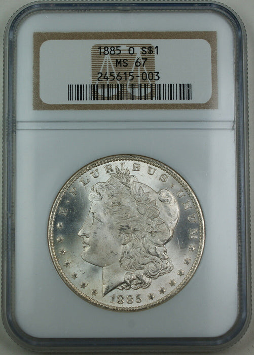 1885-O Morgan Silver Dollar, NGC MS-67, Superb Gem BU Coin