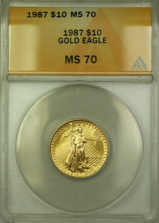 1987 Gold Eagle $10 Coin ANACS MS 70
