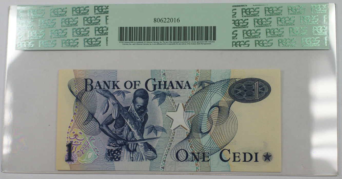 2.1.1976 Bank of Ghana 1 Cedi Note SCWPM# 13c PCGS 67 PPQ Superb Gem New