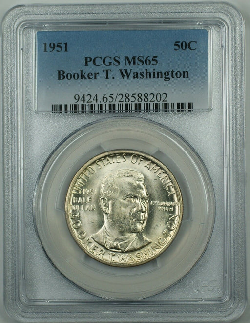 1951 Booker T. Washington Commemorative Silver Half Dollar Coin PCGS MS-65 DGH