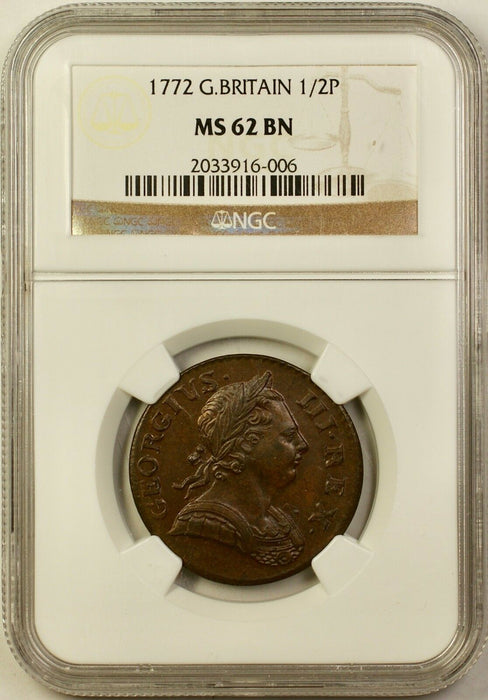 1772 Great Britain 1/2 Half Pence Coin NGC MS-62 BN Brown Better Coin AKR