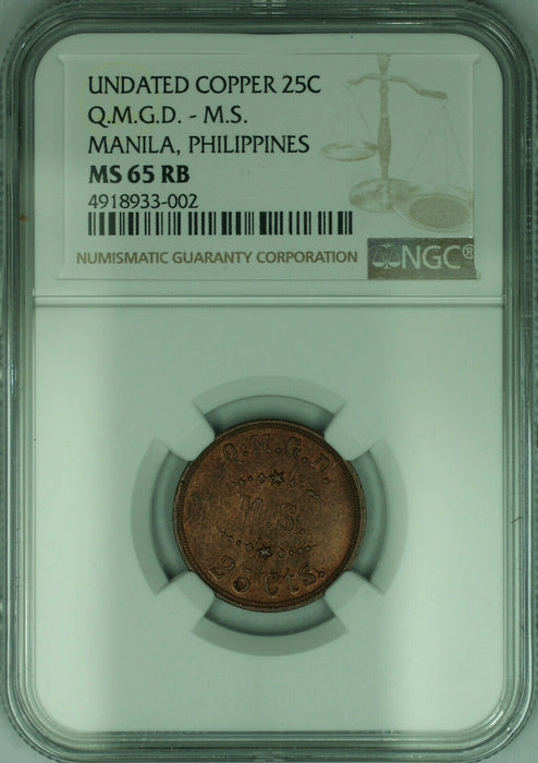 General Depot Medical Supply US Copper Token 25c Manila Philippines NGC MS-65 RB
