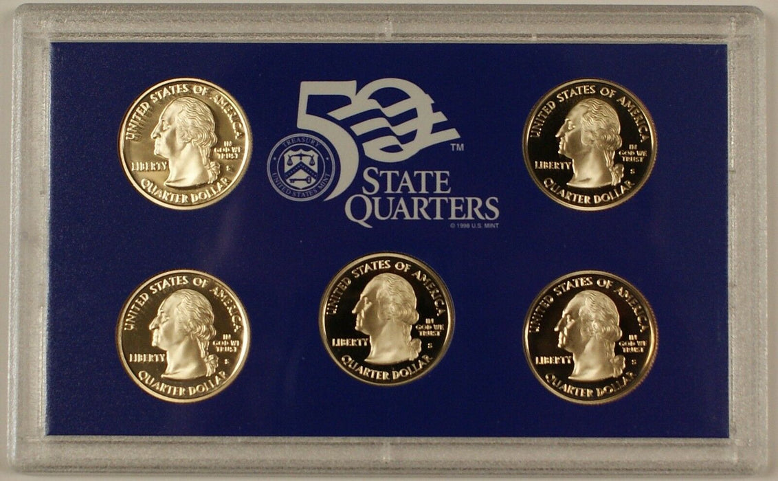 2008 US Mint Clad Proof State Quarters Set 5 Gem Coins w/ Box & COA