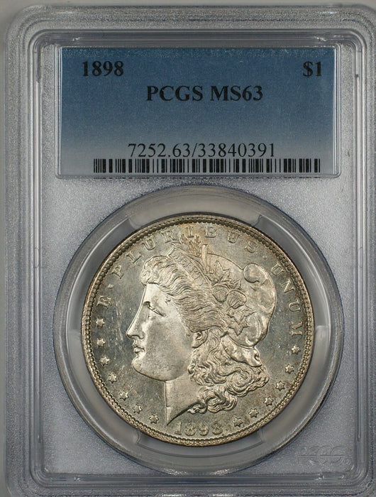 1898 Morgan Silver Dollar Coin PCGS MS-63 Toned Reverse Semi Proof-Like(13c)