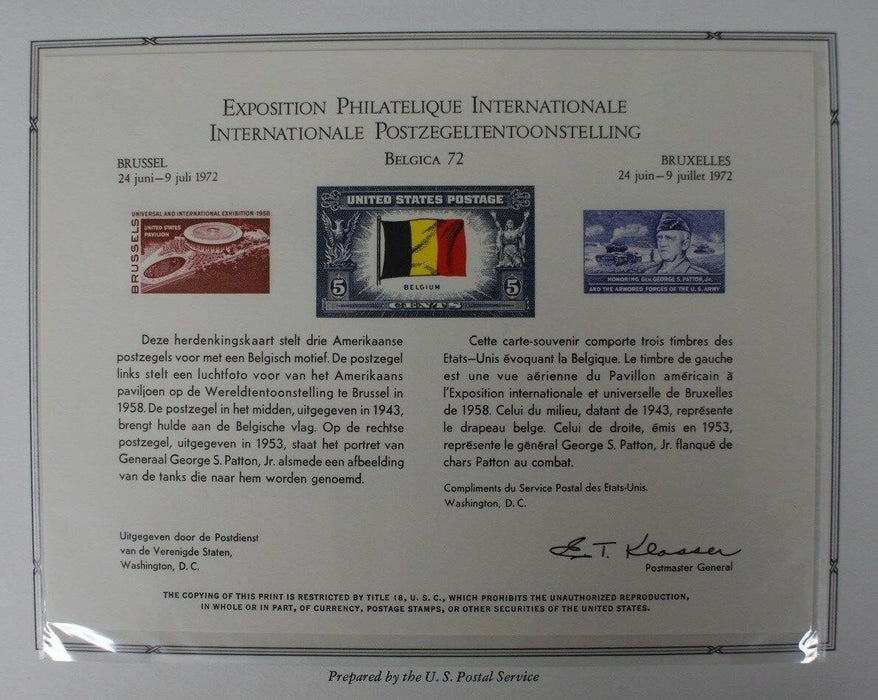 souvenir card PS 5 Belgica 1972 Brussels WF Belgium and Patton stamps