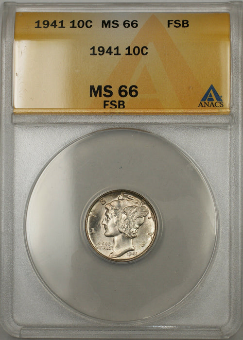 1941 Silver Mercury Dime 10C Coin ANACS MS-66 Full Split Bands (11)