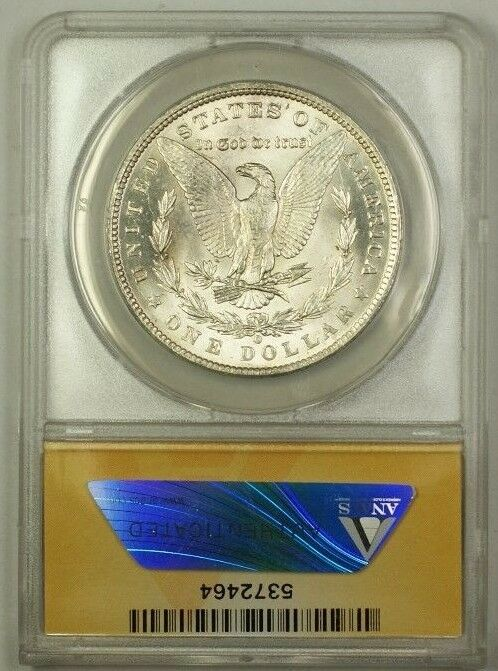 1884-O/O Over Mint Mark Morgan Silver Dollar $1 Coin ANACS MS-63 (1c)