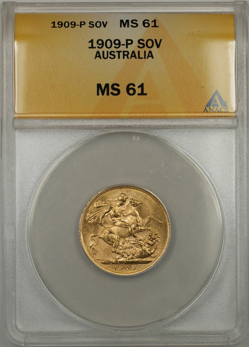 1909-P Australia Sovereign Gold Coin ANACS MS-61 (X AMT)