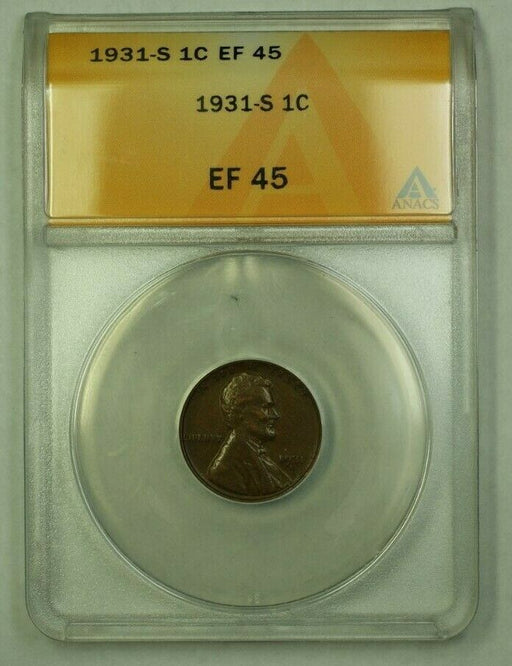 1931-S Lincoln Wheat Cent 1c ANACS EF-45 (Z) (WW)