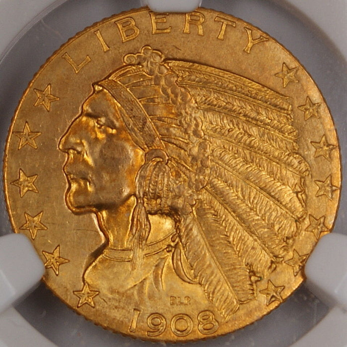 1908 Indian $5 Half Eagle Gold Coin, NGC UNC Det. (Improperly Cleaned) *Gem* DGH