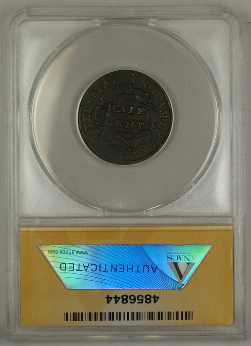 1835 Classic Head Half Cent Coin ANACS Damaged VF-30 Details