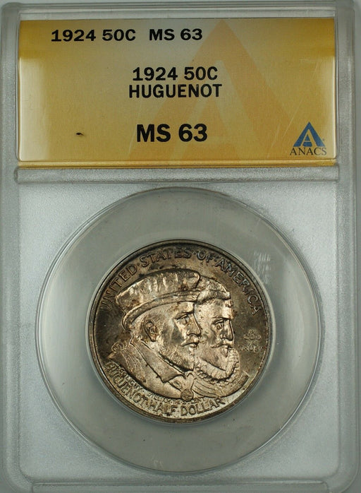 1924 Huguenot Commemorative Silver Half Dollar ANACS MS-63 (Better Coin) Toned B