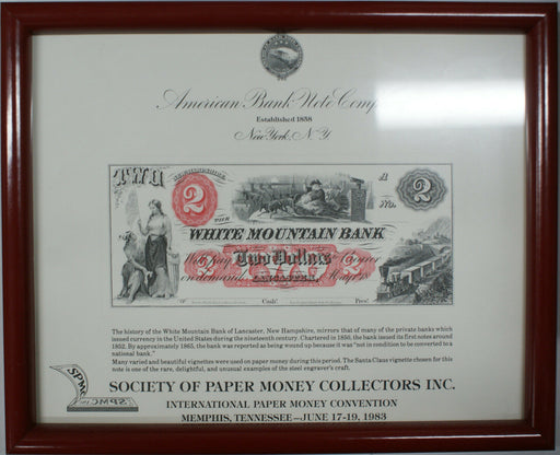 "Framed SPMC Souvenir Card 1983 SO 33 ABNC $2 ""Santa"" White Mountain Bank Note"