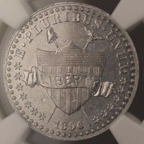 1896 Proof 1c Cent Pattern J-1769 NGC PF-61 Aluminum Coin w/ Shield WW