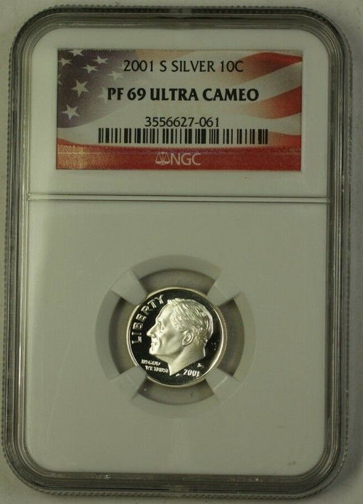 2001-S US Silver Roosevelt Dime 10c Coin NGC PR-69 Ultra Cameo