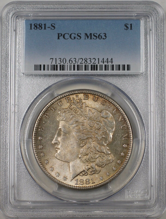 1881-S US Morgan Silver Dollar $1 Coin PCGS MS-63 (Better Coin) Toned BR-13C