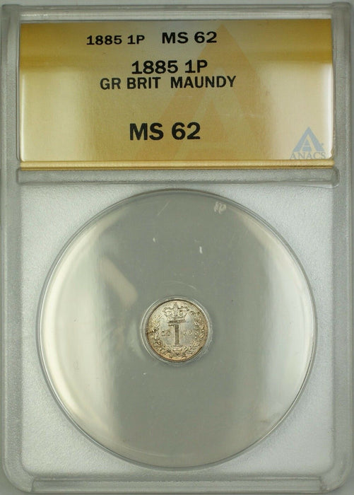 1885 Great Britain Queen Victoria Maundy 1P Penny Silver Coin ANACS MS-62
