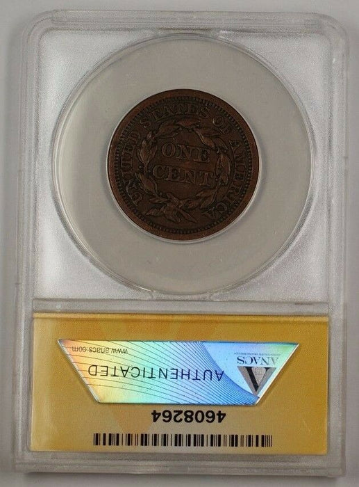 1856 US Braided Hair Large Cent Coin Upright 5 ANACS EF-40 Details Damaged