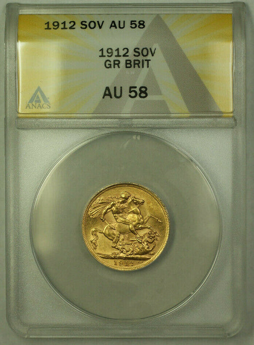 1912 Great Britain Gold Sovereign Coin ANACS AU-58