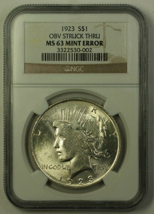1923 US Peace Silver Dollar $1 Mint Error Dramatic Obv Struck Through NGC MS-63