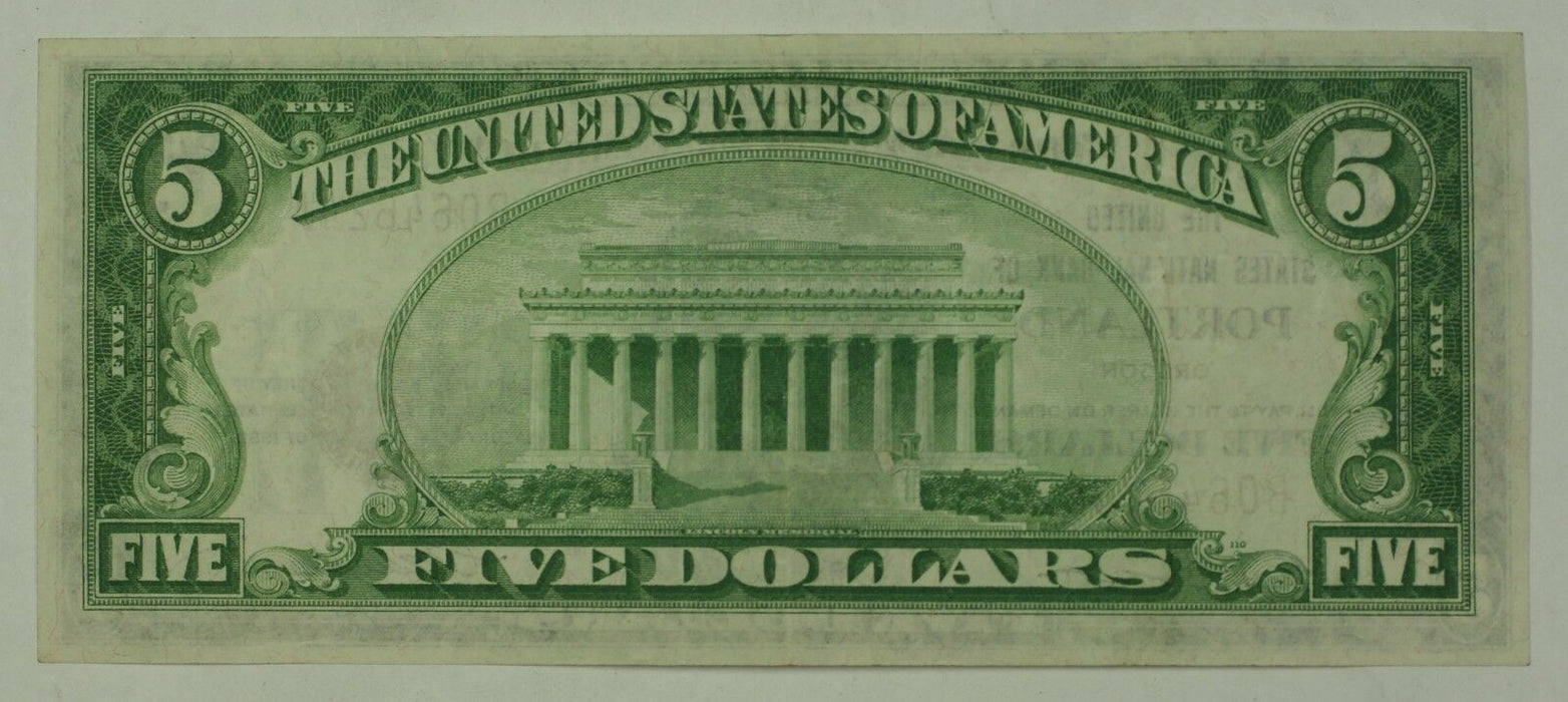 Series of 1929 $5 National Banknote Portland Oregon Charter # 4514 AU WW