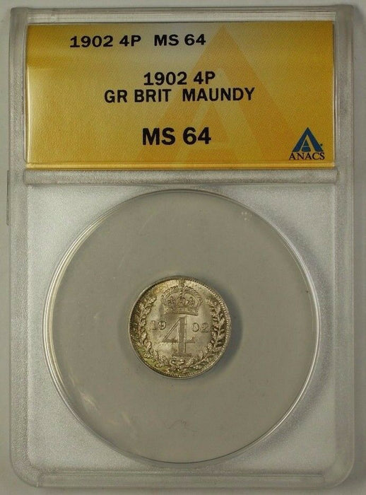 1902 Great Britain Groat Four Pence 4P Maundy Silver Coin ANACS MS-64