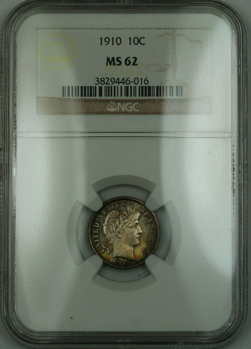 1910 Barber Silver Dime 10c NGC MS-62 (Better Coin) Nicely Toned RF