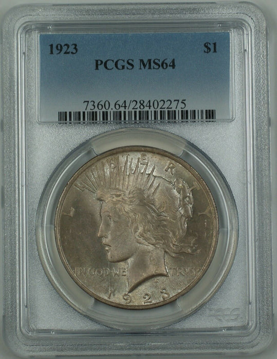 1923 Silver Peace Dollar Coin $1 PCGS MS-64 Toned DMK