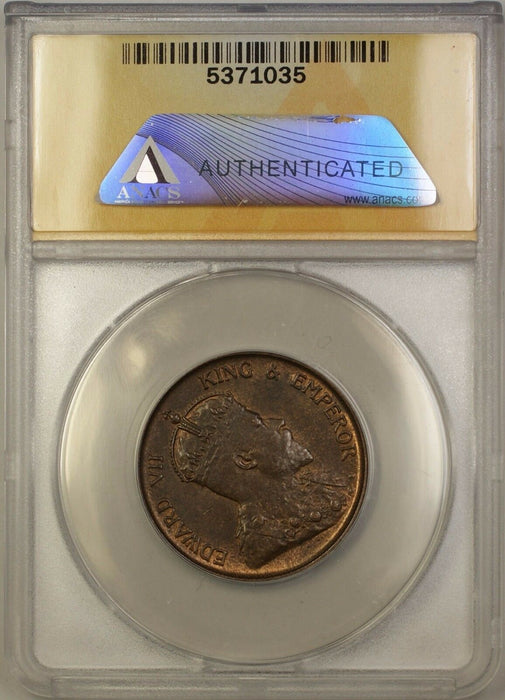 1905-H Hong Kong One Cent 1c Coin ANACS AU-58