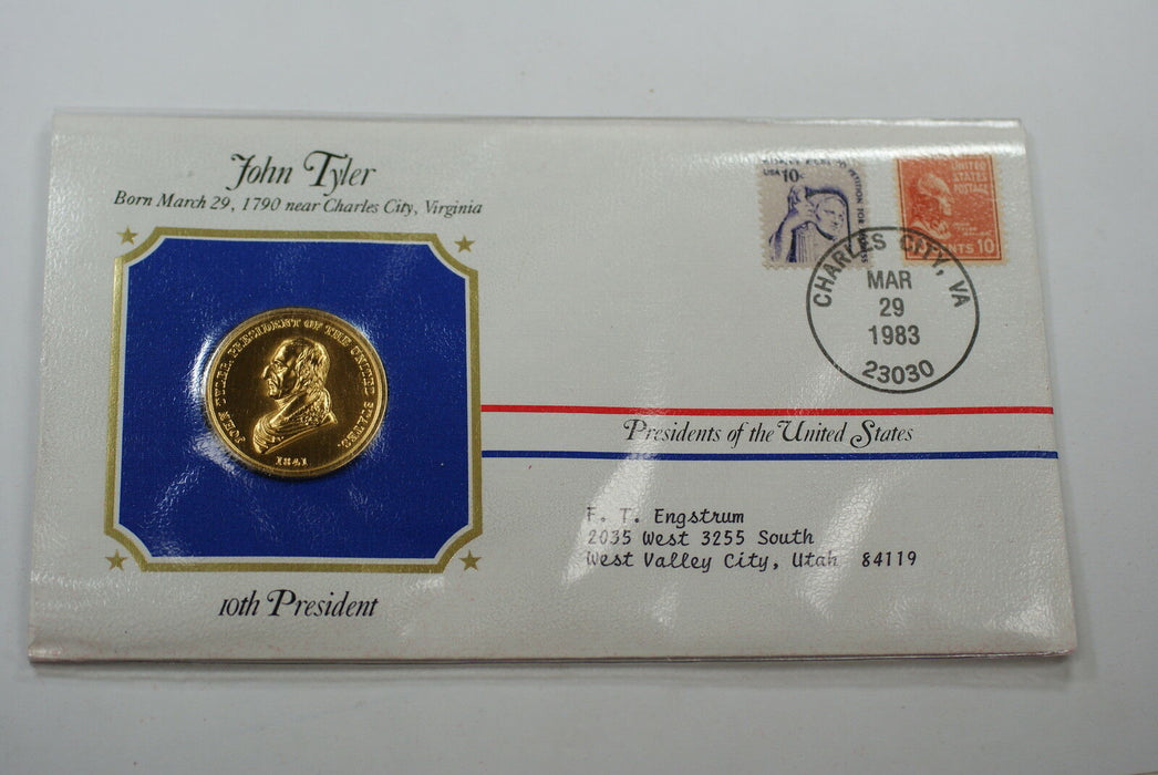 John Tyler Presidential Medal 24 KT Electroplate Gold & Stamps Cover