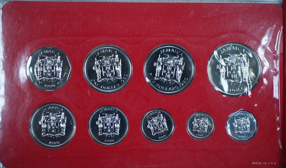 1980 Franklin Mint Jamaica 9 Coin Uncirculated Specimen Set