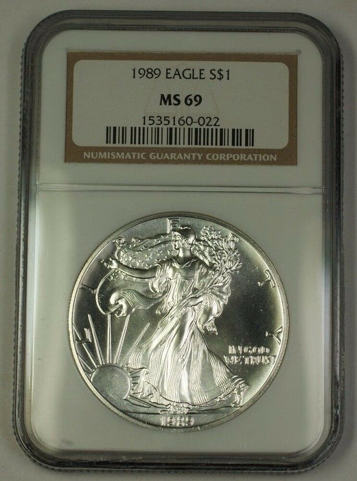 1989 American Silver Eagle ASE Dollar $1 Coin NGC MS-69 Nearly Perfect GEM
